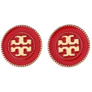 Tory Burch large red circle stud earrings